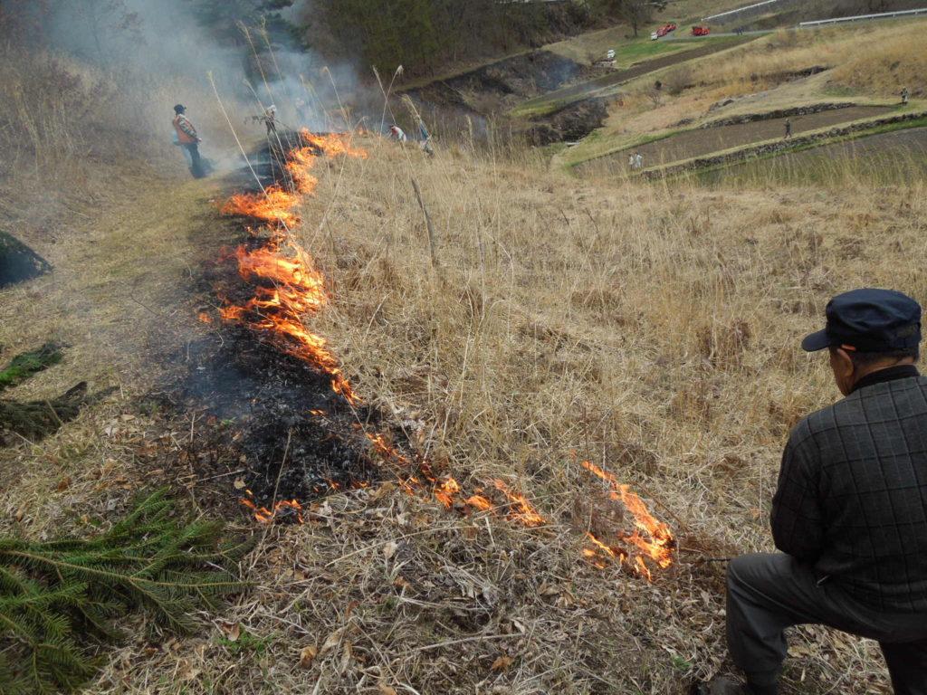 木曽町開田高原での野焼き